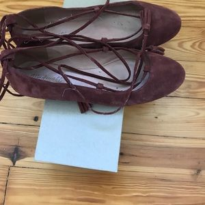 Madewell Suede Lace up ankle flats